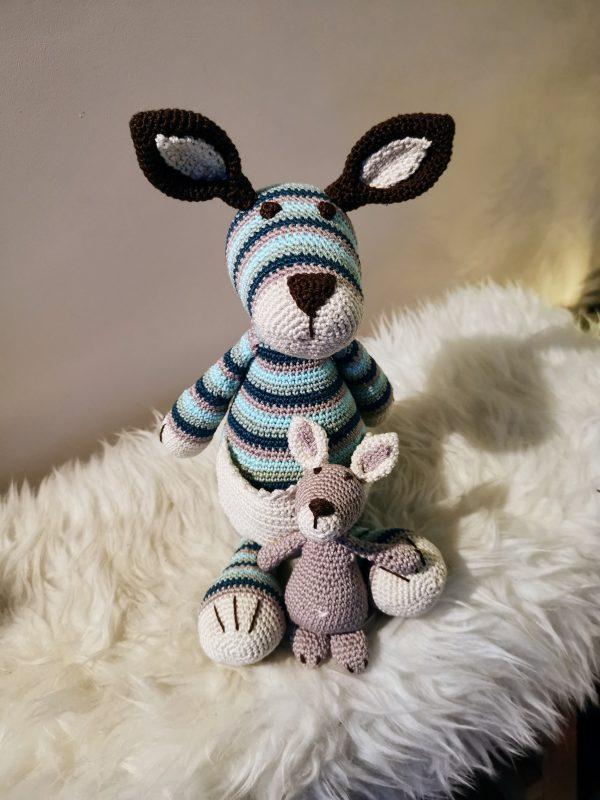 Kangaroe met baby in blauw